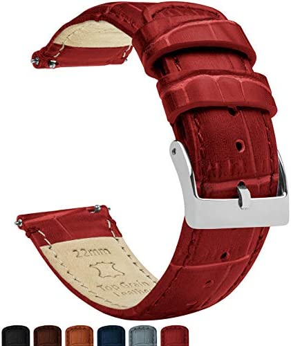 Barton Alligator Grain – Quick Release Leather Watch Bands – Choose Color, Length & Width – 16mm, 18mm, 19mm, 20mm, 21mm, 22mm, 23mm, or 24mm Standard or Long