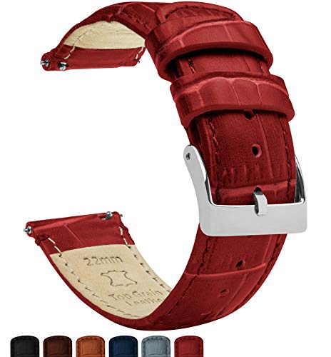 22mm Crimson Red - BARTON Alligator Grain - Quick Release Leather Watch Bands