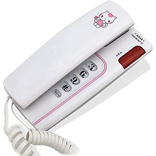 VERDELZ Teléfono Fijo Fijo, Teléfono con Cable De Montaje En Pared con Luz De Llamada, Silencio, Pausa, Lindo Gato, Teléfono De Escritorio para La Oficina En Casa