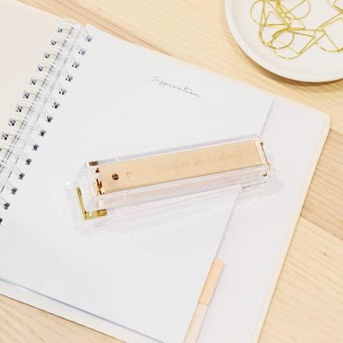 Gold Stapler for Desk - Cute Stapler for Office - Clear Acrylic Stapler - Desktop Designer Stapler - Elegant Desk Accessory, Trendy Novalty Stapler - Pretty Office Space - Lucite, Large Office Stapler Photo #5