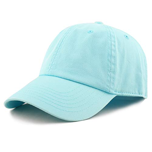The Hat Depot Unisex Blank Washed Low Profile Cotton and Denim Baseball Cap Hat (Aqua)