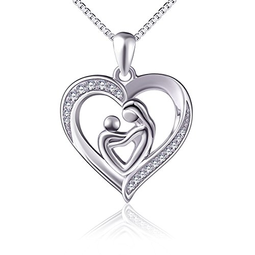 Mother Holding Child Sterling Silver Mothers Love Heart CZ Pendant Women Necklace 18 inches