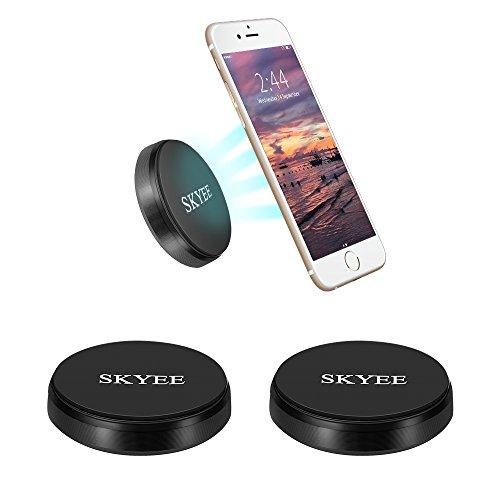 Skyee 2pcs Soporte Movil Coche Magnético, Universal Soporte Teléfono iman Adhesivo para Salpicadero, Pared Sujetamoviles con 4 Piezas Placa Metálicas Soporte para Llaves, GPS, Smartphone (Negro)