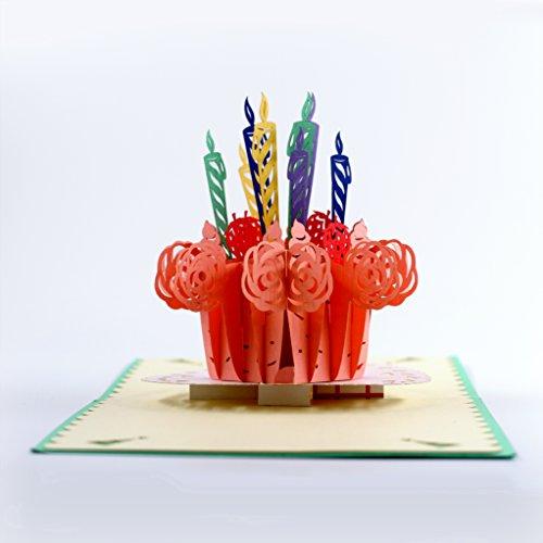 cutepopup 3D Geburtstag Kuchen, Popup Karten–Einzigartiges Design, perfekt handgefertigt Geschenke für Gelegenheiten–Geburtstag, Muttertag, Feiern. mit Karten Halter