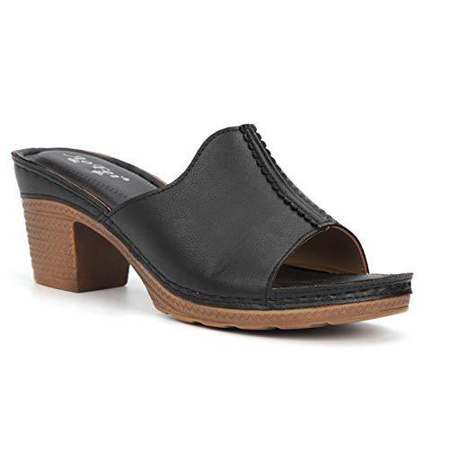 Casual zomer muiltjes sandalen schoenen, hoge hakken grote maten sandalen, damestiksels comfortabele slippers-black_37, zachte schuimrubber zool schoenen