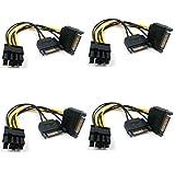 Xhwykzz - Cable de alimentación (6 + 2 conectores PCIe a 2 PCIe de 15 pines SATA (8 pulgadas, 4 unidades)