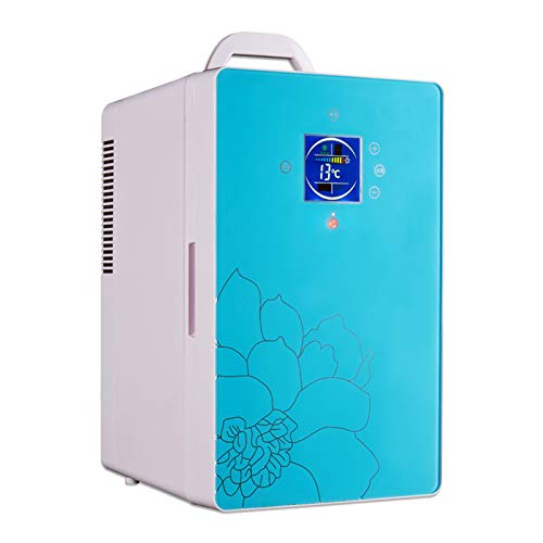 YICHEN Mini Fridge 16 Litre Portable Fridge Mini Refrigerator With Display For Food, Beverages, Skincare -Use at Home, Office, Dorm, Car, Boat-AC & DC Plugs Included,Blue