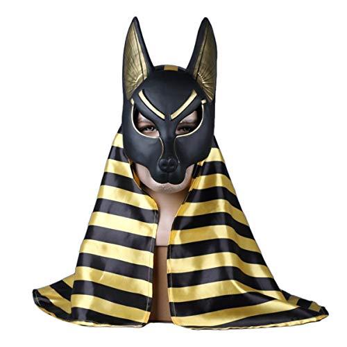 QQWE Grim Reaper Máscara de Anubis Cabeza de Lobo Máscara de Cosplay Halloween Espectáculo de Navidad Rendimiento Juego de película Máscara Accesorios,B-OneSize