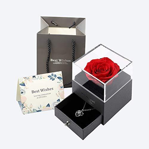 Queta Rosa Eterna, Rosa Preservada Eterna Hecha a Mano Caja de Joyería Joyero de Regalo para el Día de San Valentín Aniversario de Bodas Día de la Madre Navidad Cumpleaños Regalos Románticos