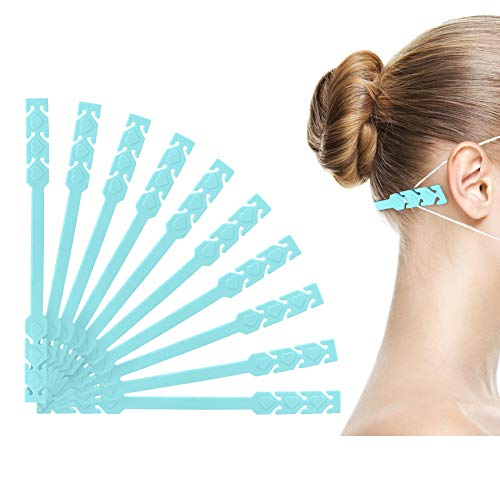 Face Mask Ear Protector - 10 Pieces Anti-Slip Mask Ear Hook, 3 Gears Adjustable Mask Strap Extender, Easy to Relieve Pressure and Pain for Ear, Perfect for Nurse, Dust-Workers, Women, Men, Kids Blue