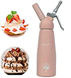 DFP Pink Whipped Cream Dispenser; Mousse Siphon for Hot and Cold Sauces - 500ml