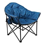 ALPHA CAMP Heavy-Duty Oversize Camping Chair Round Moon Saucer Chair Padded Folding Chair with Cup Holder and Carry Bag (Dark Blue)