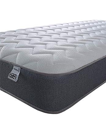 Starlight Beds – (1151 GREY) Mattress. 7.5 Inch Deep Sprung Memory Fibre Mattress with a Zig Zag Design Cool Touch Top Panel and Grey Border