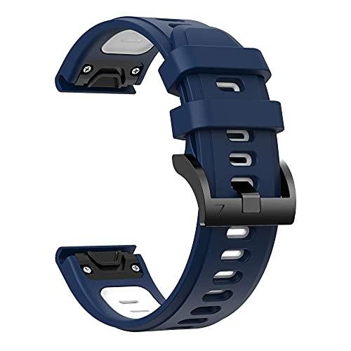 WWXFCA Easyfit Correa de silicona para reloj Garmin Fenix 6 Pro 5 Plus 22 mm de liberación rápida Fenix5 Fenix6 Forerunner 945 (color de la correa: azul blanco, ancho de la correa: 22 mm)