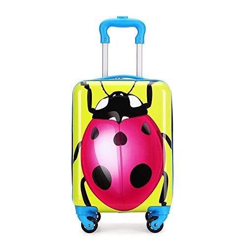 Kids Cartoon Koffer op Wielen Children's Trolley Rolling Bagage Pc Girls Travel Cabin Koffer Leuke Bagage for Kid, Fat wit Leuk speelgoed voor kinderen. (Color : Ladybug)