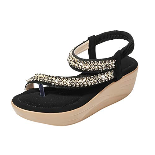 YWLINK Zapatos Mujer CuñA Bohemia Damas Cristal Sandalias Chanclas De Playa Flip Zapatos Casuales TamañO Grande Zapatillas Fiesta De Coctel Regalo del DíA De Miembro De Zapatos Romanos(Negro,39EU)