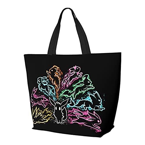 Eevee - Bolsa de hombro multifuncional plegable y reutilizable de gran capacidad con cremallera para mujer, bolsa de compras, bolsa de gimnasio, bolsa de viaje para ordenador