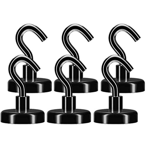EVISWIY 100LBS Magnetic Hooks for Grill Tools Refrigerator Cruise Cabins Heavy Duty Black Magnet Hooks Hanger for Hanging Coat Towel Key Pot Holders 6 Pack
