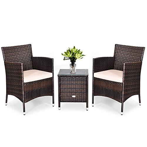Giantex - Set di mobili da giardino per esterno in PE rattan da 3 pezzi, con cuscini e pannelli di vetro, composto da un tavolo e 2 poltrone, adatto per patio posteriore, balcone, uso esterno (cachi).