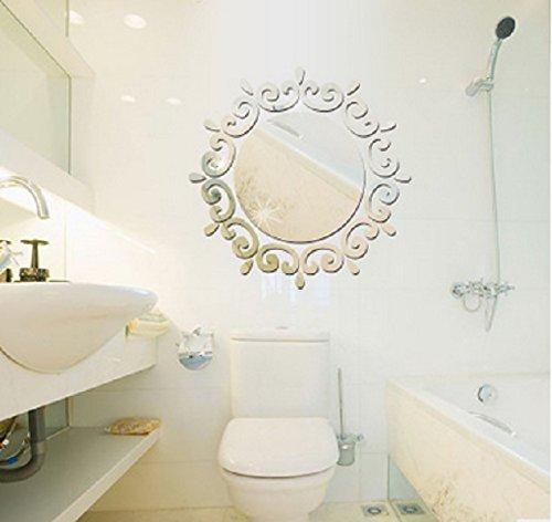 Revesun – Autocollants miroir muraux pour salons et chambres, décorations de style stéréoscopique, (Silver)46*46CM 3D Mirror Stickers
