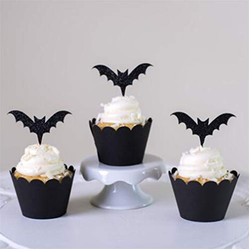 Sevenfly 12 Stücke Halloween Thema Cupcake Topper Wrapper Blutigen Hut Fledermäuse Spinne Kürbis Ghost Cake Dekorationen Für Halloween Party Supplies (Style2)
