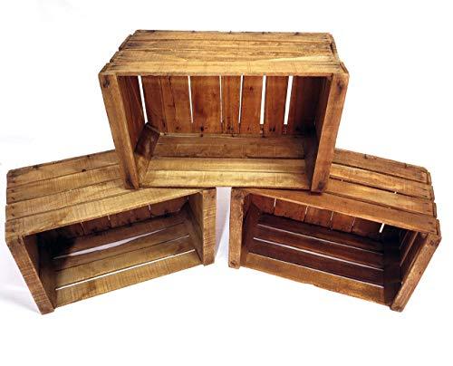 Set 3 Weinkiste Obstkiste Holzkiste wie aus dem Alten Land - Handgefertigt in Italien - Natur Regal Dekoration