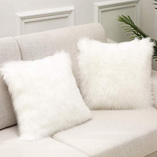 White Fluffy Soft Artificial Fur Cushion Covers Set of 2, 18 x 18 Inch 45x 45cm With hidden zipper For Bedroom Sofa Car Decoration Pillowcase