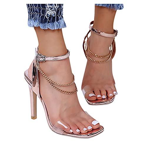 BIBOKAOKE Damen Sandaletten High Heels mit Pfennigabsatz Riemchensandalen Elegante Damen Pumps Sommer Sandalen Open Toe Absatzschuhe Sommersandalen Schöne Sandal