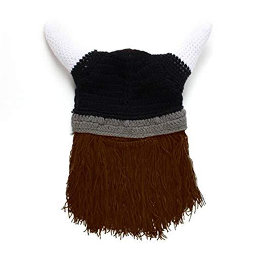 Ardorman Casco de saqueador Vikingo, Sombrero de Cuerno de Punto Divertido, Casco Vikingo de Cachemira Hecho a Mano y Barbudo, Disfraz de Pirata Vikingo de Halloween