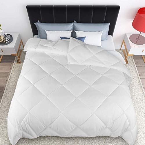 ONENICE All Season Queen Size Hypoallergenic Down Alternative Comforter Reversible Quilted Duvet Insert with Corner Tabs, Winter Warm Soft Fluffy & Lightweight (Pure White, 88 x 88 Inches)