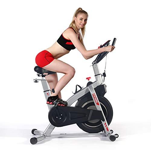 ISE Bici da Spinning Bicicletta Cyclette Fitness Bike per Allenamento a Casa, Volano da 5 kg Regolabile, SY-7020