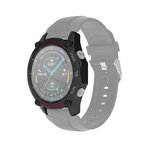WATCHCASE/para Huawei Watch GT2 46mm Smart Watch TPU Funda Protectora, Color: Negro + Gris Rojo, La decoración de la Moda Protege el Marco del re