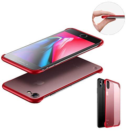 """SevenPanda Slim Fit iPhone 8 iPhone 7 Hülle, Rahmenlose, Durchscheinende, Matte Textur, Hartplastik Rückseite und Stoßstangenecken aus TPU für iPhone 7 / iPhone 8 4.7"""" (Metallring Enthalten), Rot"""