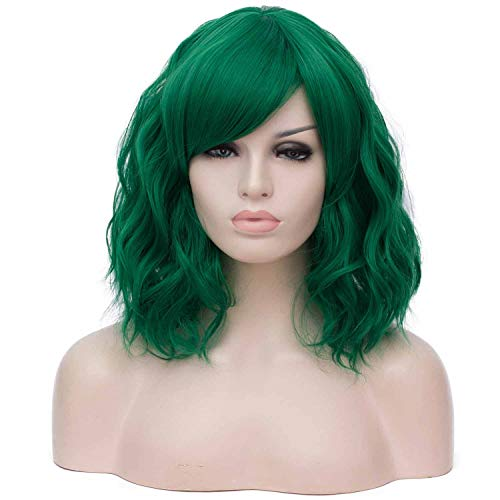 Mildiso Dark Green Wigs for Women, Short Curly Wavy Hair Wig with Bangs, 14'' Cute Green Bob Wig for Party Cosplay St Patricks Day M073