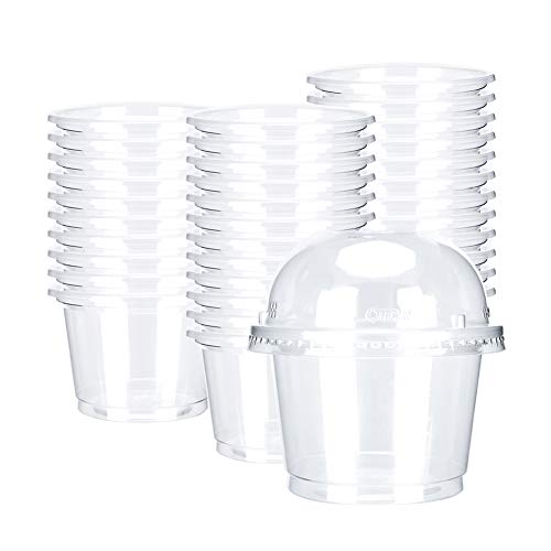 OTOR 8oz Hot/Cold Disposable Plastic Cups with Dome Lids - 50 Sets - Ice Cream Cups, Snack bowl, Take Away Food Container for Dessert Fast food Soup