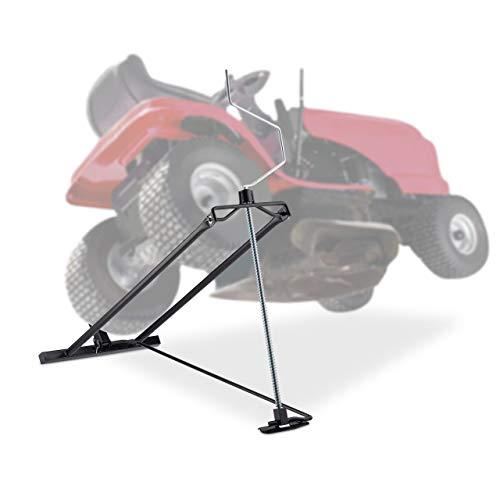Relaxdays Rasentraktor Hebevorrichtung, 400 kg, Kippvorrichtung Aufsitzmäher, stufenloser Neigungswinkel, Stahl, schwarz