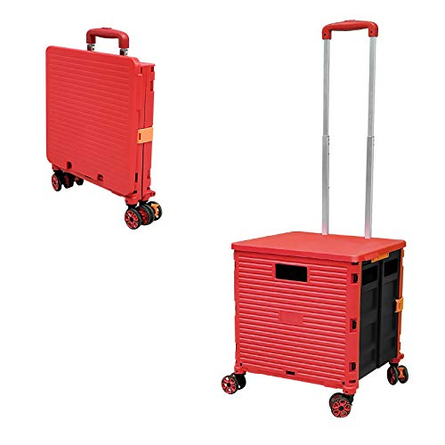 Faltbare Einkaufstrolley-Box auf Rädern mit Deckel, verschleißfester, geräuschloser 360 ° -Drehung und verstellbarem Kofferraumwagen aus Aluminiumlegierung, Tragkraft 45 kg Tragbarer langlebiger