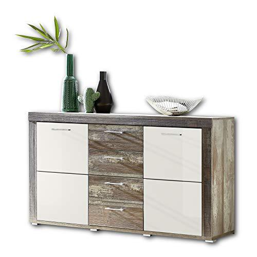 CROWN X Sideboard in Driftwood Optik, Weiß - moderne & ausdrucksstarke Softclose Kommode für Ihren Wohnbereich - 148 x 88 x 45 cm (B/H/T)