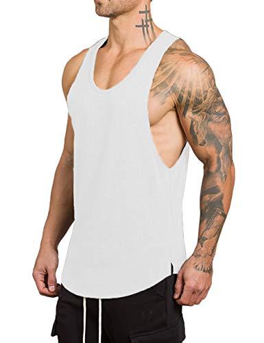 Rexcyril Men's Workout Gym Tank Top Fitness Bodybuilding Stringer Muscle Cut Sleeveless T Shirt Medium White