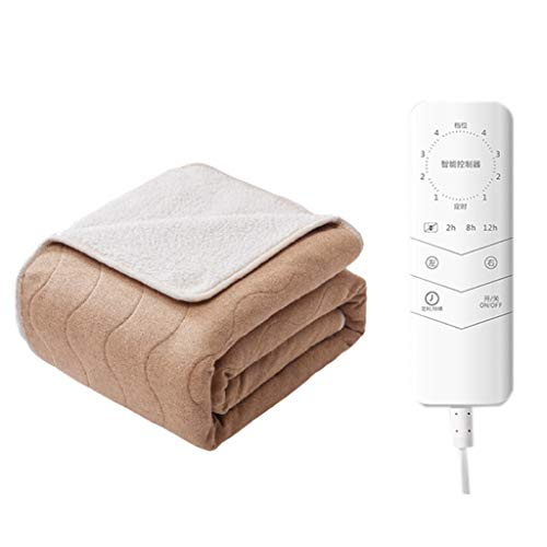 HSFJFDRT Manta Eléctrica de Temperatura Ajustable de 4 Velocidades Manta Eléctrica de Lana de Cordero Control de Temperatura Doble Control de Temperatura de Material de Algodón Y Lino 35~45 ℃