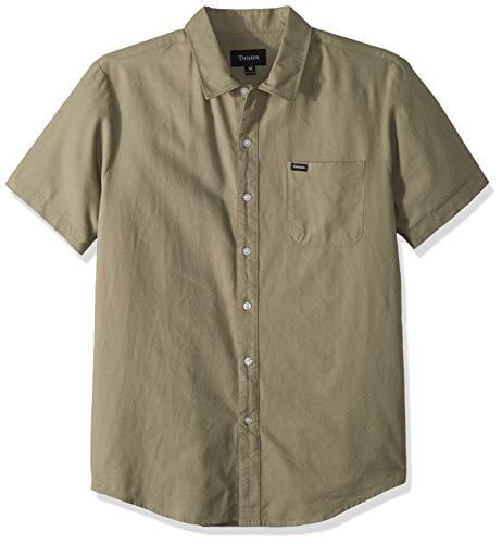 Brixton Herren Charter Oxford S/S WVN Button Down Hemd, graugrün, Klein