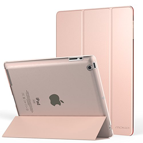 MoKo Case for Ipad 2/3/ 4 - Ultra Lightweight Slim Smart Shell Stand Cover with Translucent Frosted Back Protector for Ipad 2/ The New iPad 3 (3rd Gen)/ iPad 4, Rose Gold (with Auto Wake/Sleep)