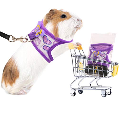 Preferhouse Hand Made Harness Vest and Leash Set for Hamster Rats Iguana Bearded Dragon Baby Ferret Soft&Adjustable Small Purple