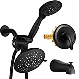 YITAHOME Rain Shower System, Dual Handheld Shower Head Wall Mounted Shower Faucet Set 6-Sprays Rainfall Shower Head Touch Clean with Tub Spout, Rough-in Valve & Trim Kit Included Matte Black