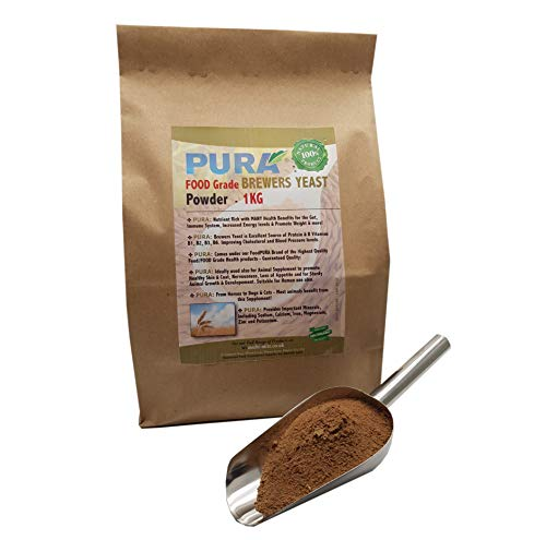 FoodPURA Brewers Yeast Powder 1KG - use with Horses, Ponies Vitamin B, E & H for Pets and Animals - For Healthy Skin and Coats - also Human FOOD Grade!