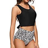 Dixperfect Women's High Waisted Tummy Control Two Pieces Swimwear Bathing Suit Full Bust Bikini (L, Black)