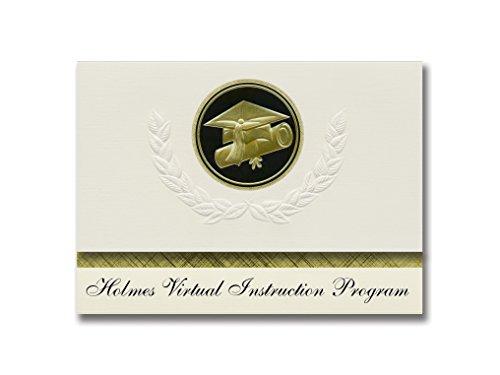 Signature Announcements Holmes Virtual Instruction Program (Bonifay, FL) Graduation Ankündigung, Presidential Elite Pack 25 Cap & Diplom Siegel Schwarz & Gold