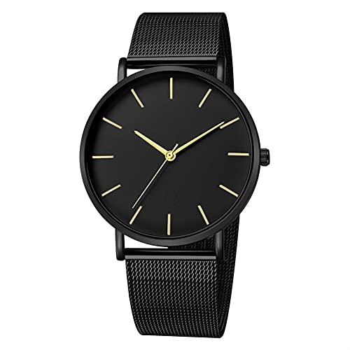 OWZSAN Mujeres Reloj Casual Simple para Mujeres Relojes De Oro De Malla De Acero Inoxidable Relojes De Oro Casual Relojes De Cuarzo Simple Reloj Zegarek Damski Reloj Digital (tamaño : Black Gold)