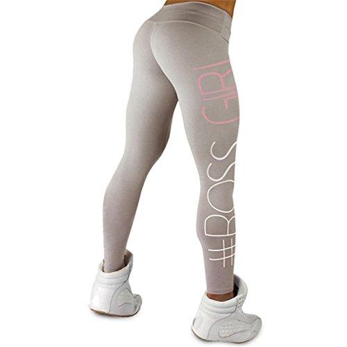 Paymenow Women High Waist Yoga Pants BOSS Girl Letter Sports Gym Running Fitness Leggings Pants Athletic Trouser (Gray, L)