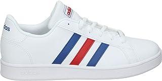 adidas Unisex Grand Court K Tennisschuhe, Weiß Blau Rot Ftwbla Azurea Escarl, 39 1/3 EU